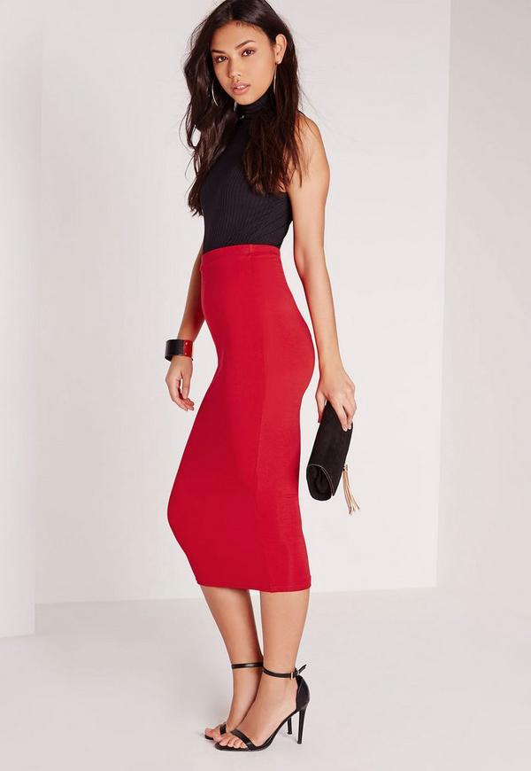 Longline Jersey Midi Skirt Red