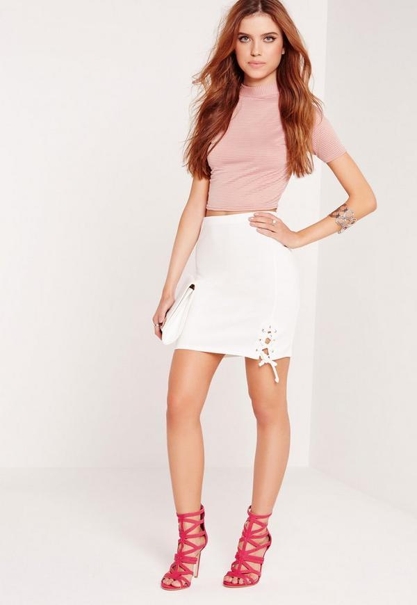 Lace Up Hem Mini Skirt White