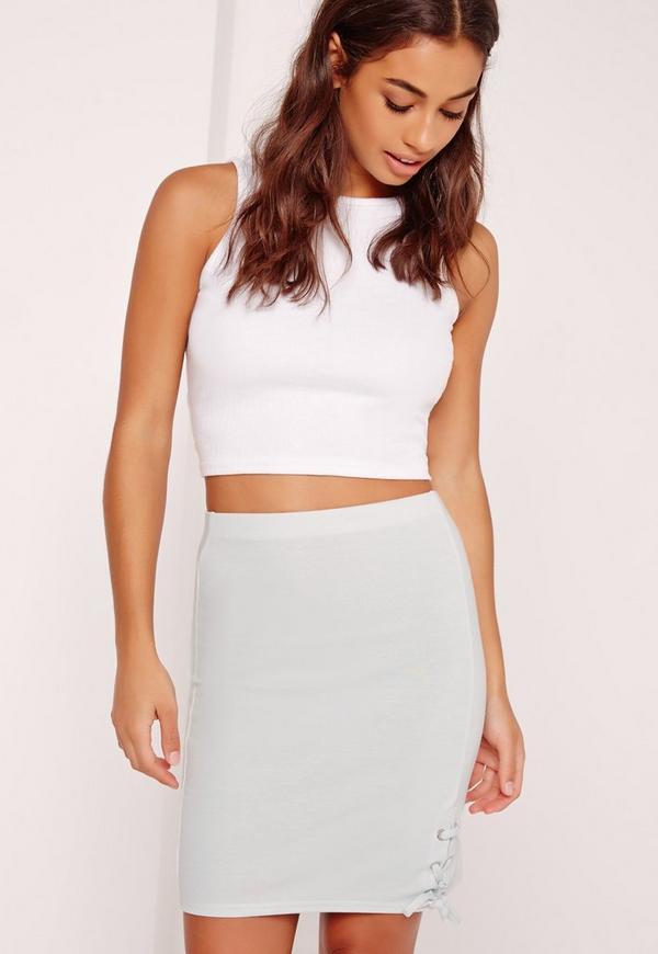 Lace Up Hem Mini Skirt Blue