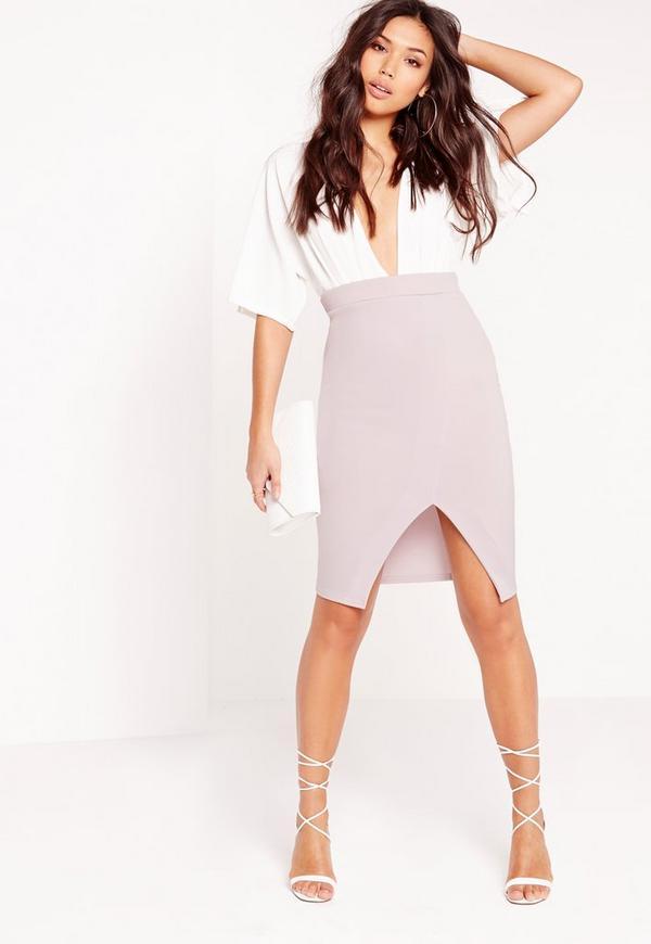 Wrap Detail Scuba Midi Skirt Lilac