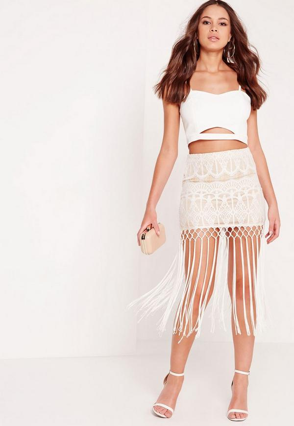 Lace Fringed Midi Skirt Cream