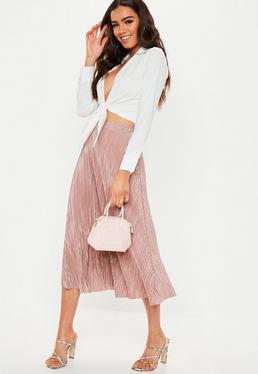 835f98d24a7535 Pink Floral Leopard Satin Split Hem Midi Skirt; Rose Plisse A Line Midi  Skirt