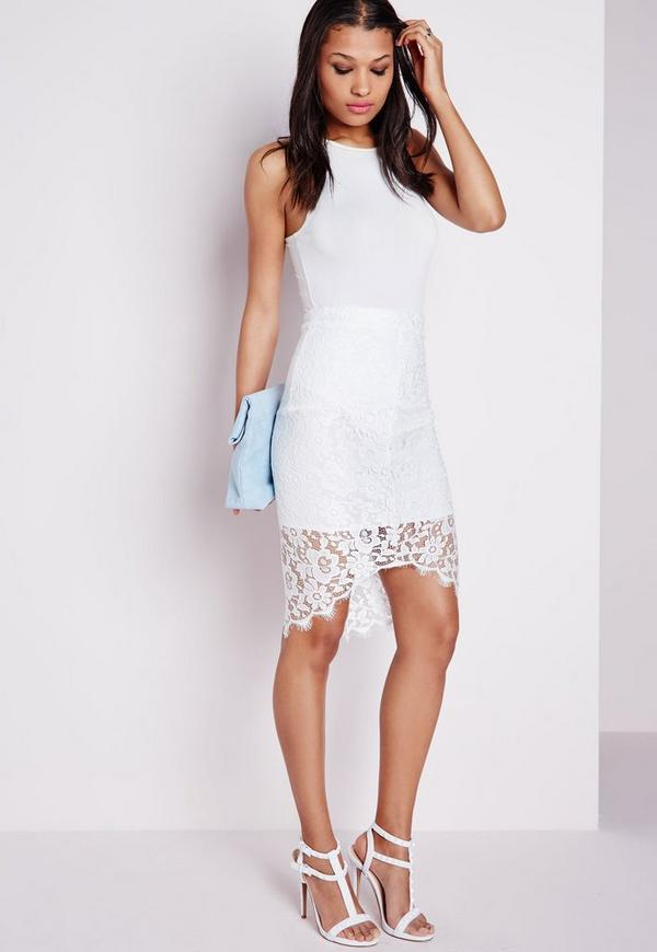 Lace Curve Hem Midi Skirt White