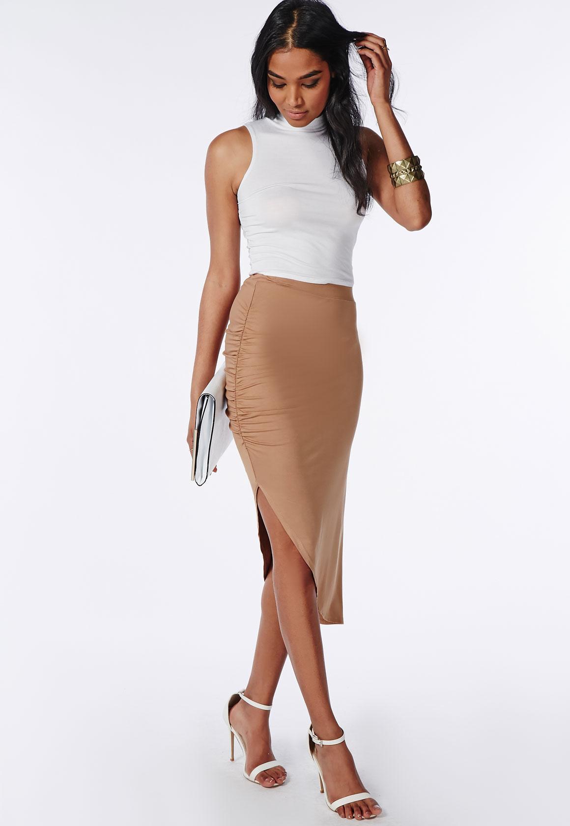 5b3aa5c307 Ruched Side Asymmetric Midi Skirt Camel   Missguided Australia
