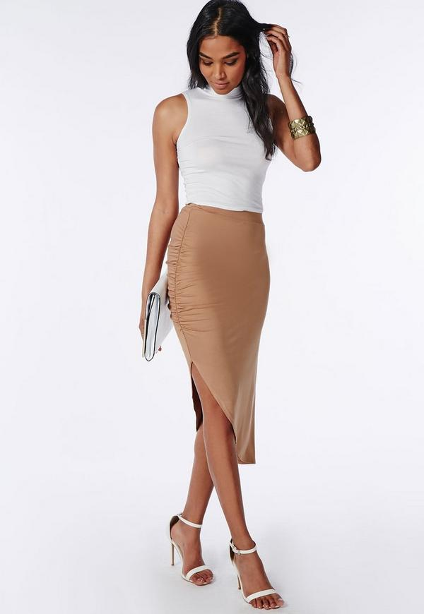Ruched Side Asymmetric Midi Skirt Camel