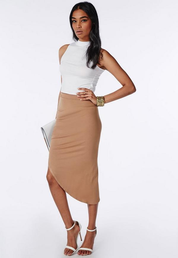 ruched side asymmetric midi skirt camel missguided