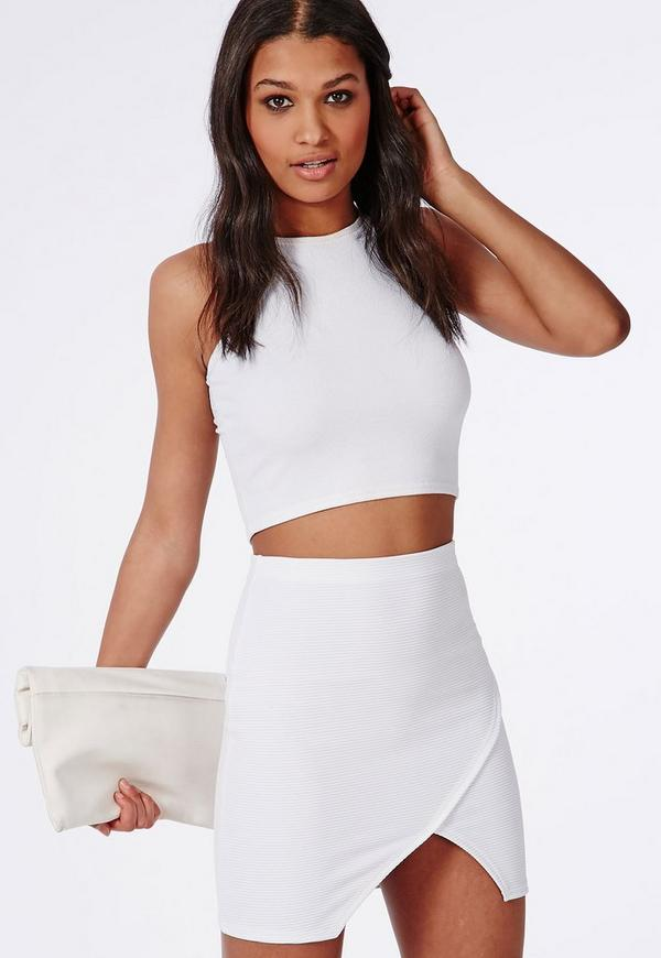 Wrap Front Ribbed Mini Skirt White