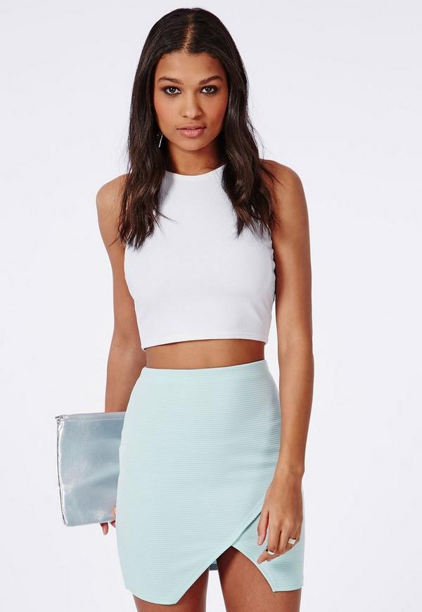Wrap Front Ribbed Mini Skirt Powder Blue