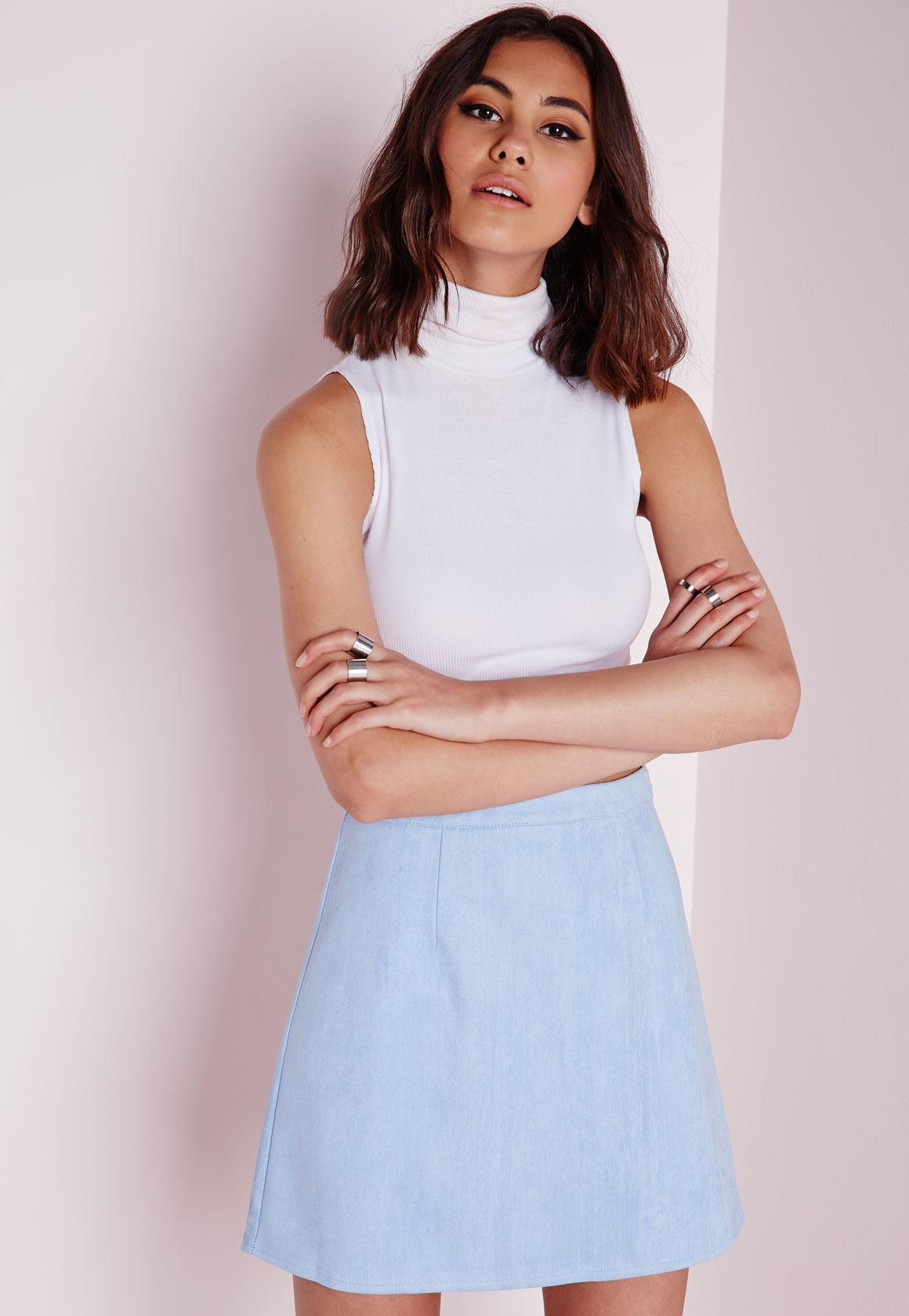 Faux Suede A Line Skirt Baby Blue - Skirts - A-Line Skirts ...