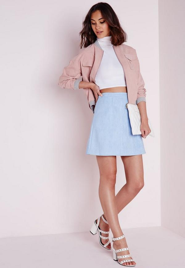 faux suede a line skirt baby blue missguided