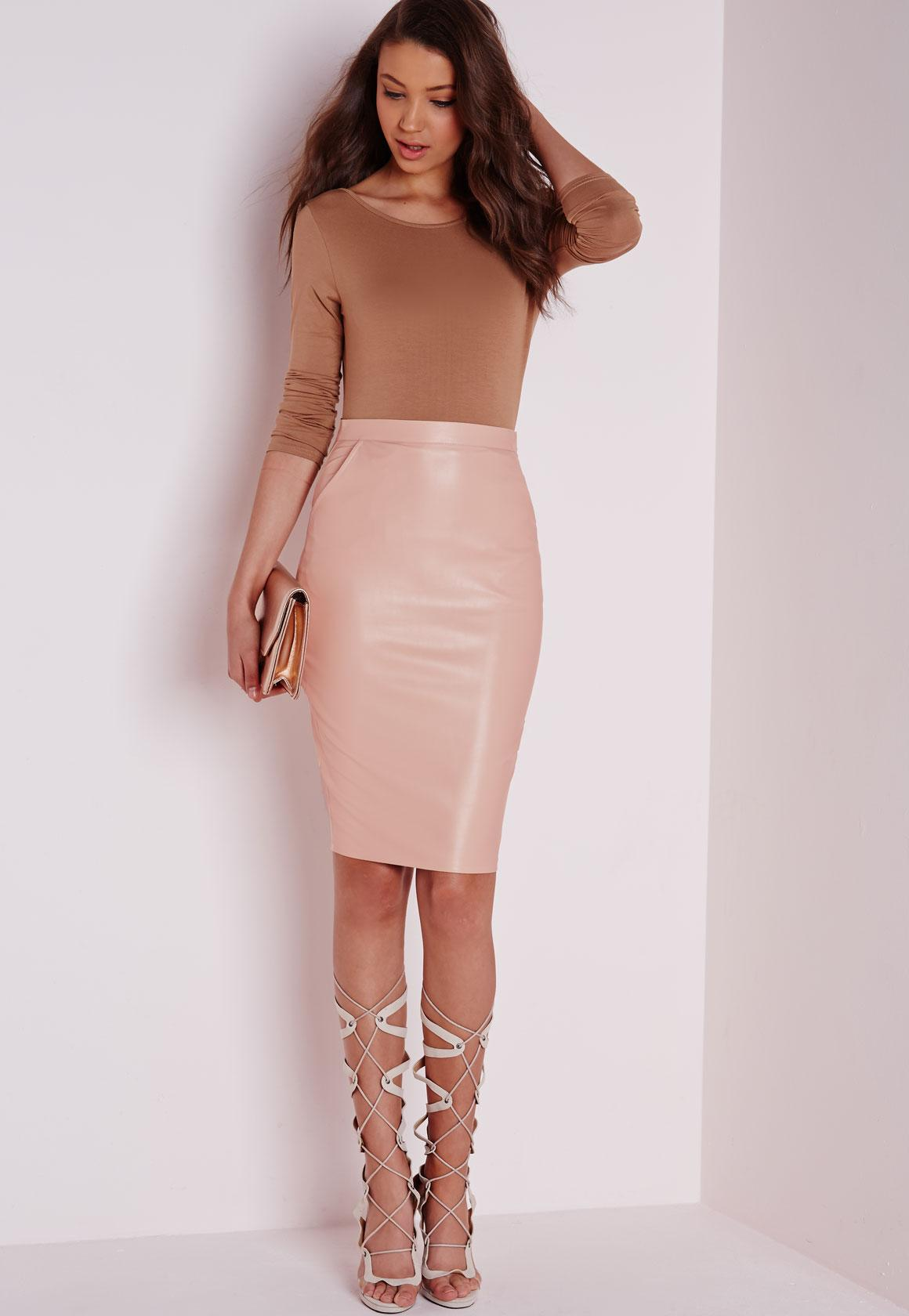 Mariota Faux Leather Midi Skirt Nude | Missguided