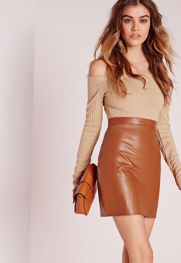 Faux Leather Mini Skirt Tan