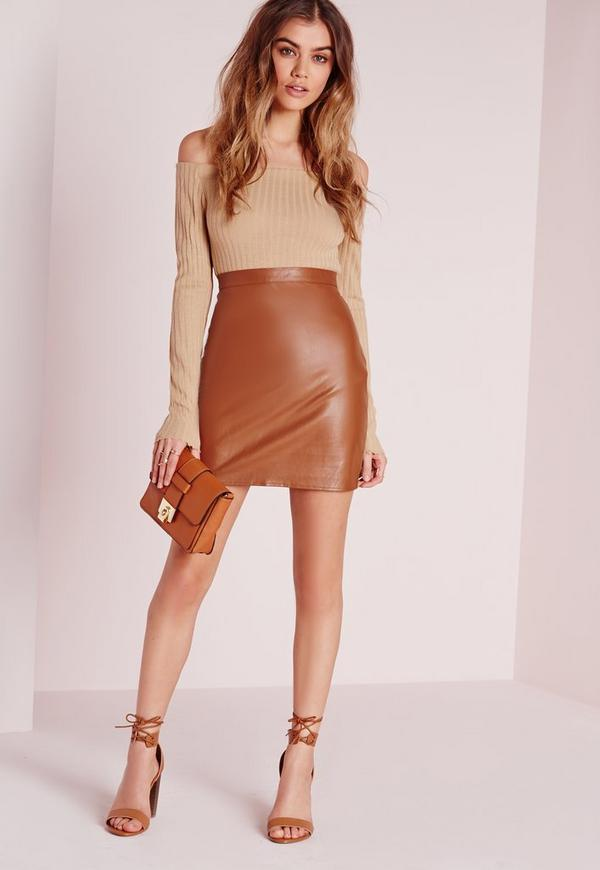 Faux Leather Mini Skirt Tan | Missguided