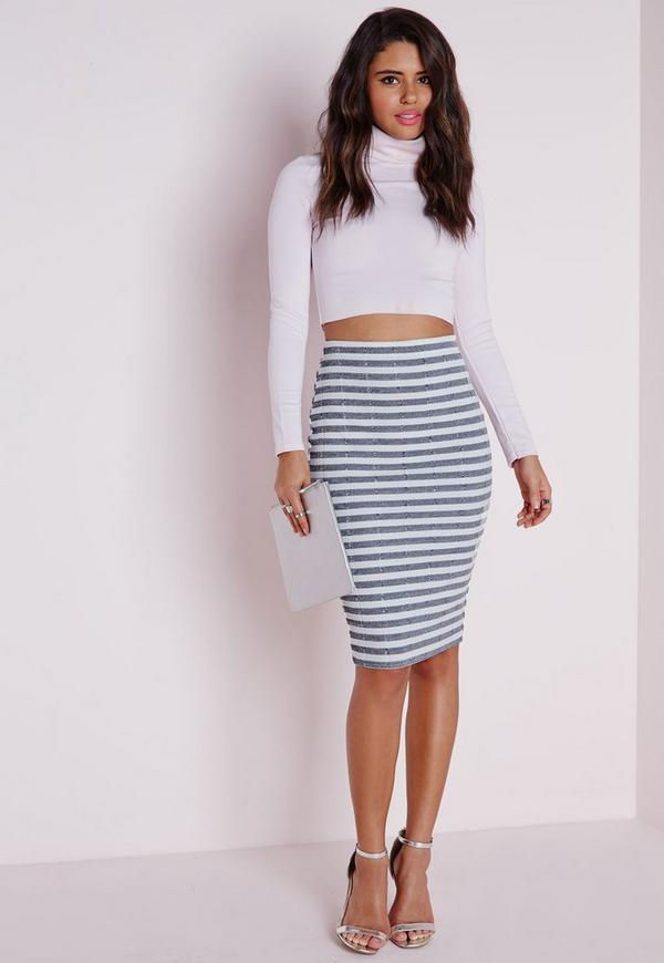 Ribbed Stripe Print Midi Skirt White
