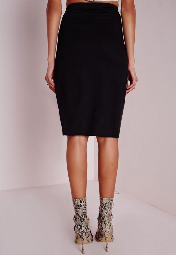 thigh split midi skirt black missguided