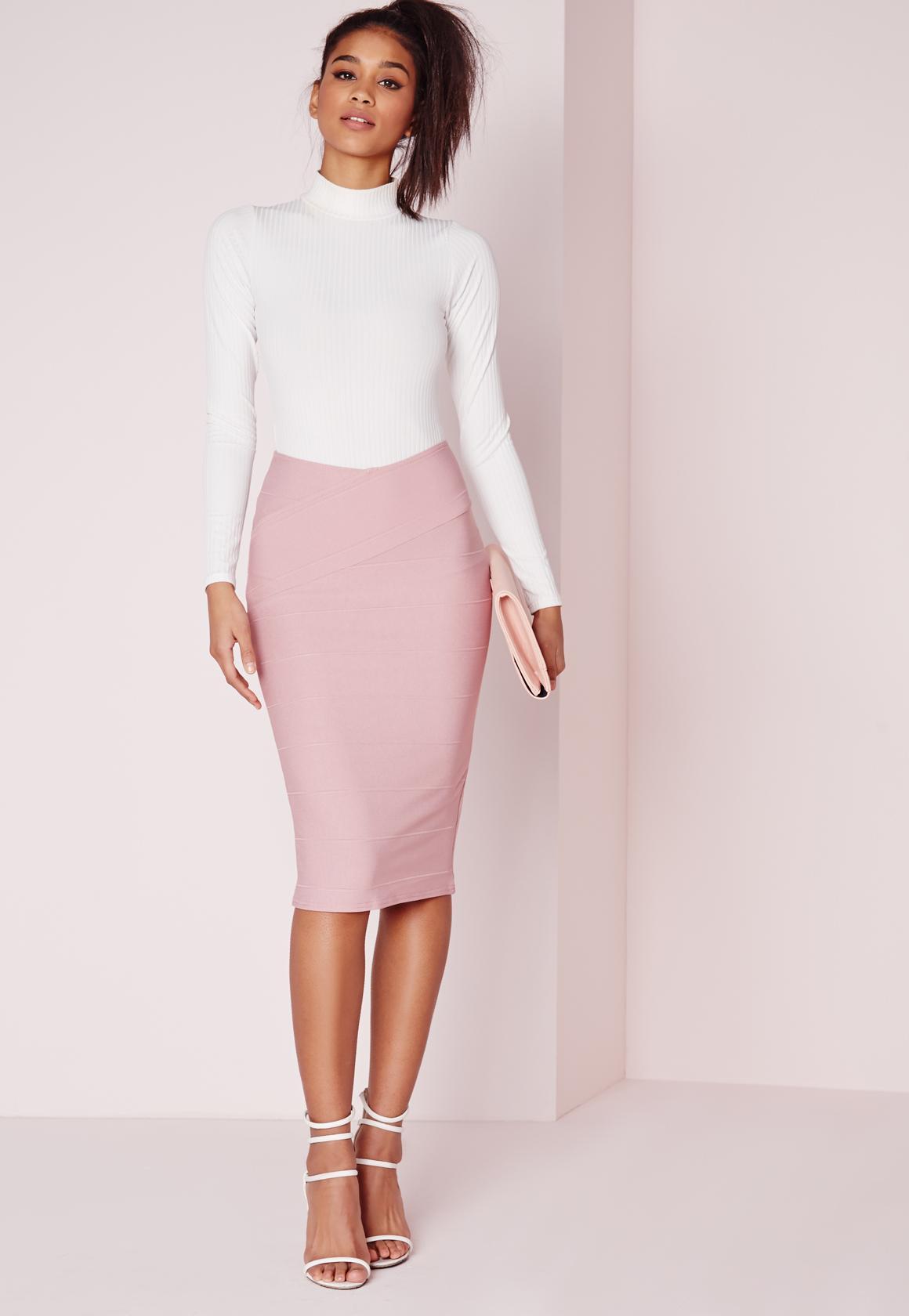 Wrap Waist Bandage Midi Skirt Mauve | Missguided