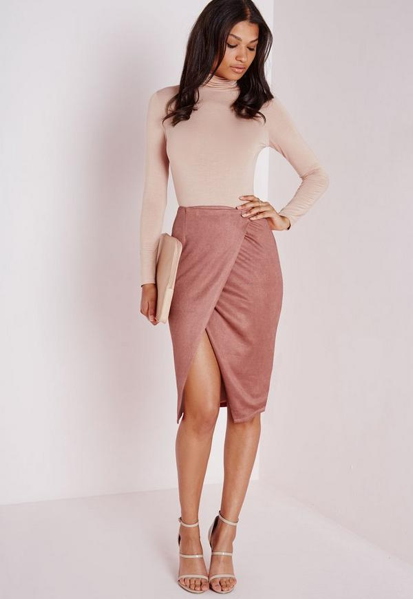 Wrap Over Faux Suede Midi Skirt Mauve | Missguided