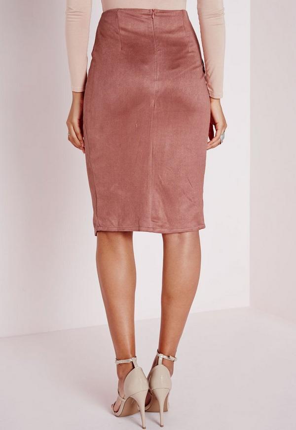 wrap faux suede midi skirt mauve missguided