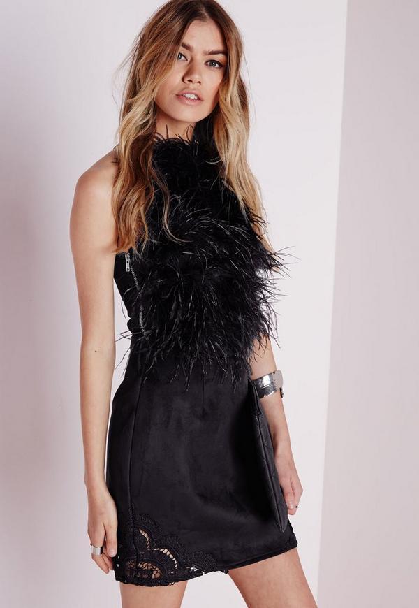 Lace Hem Faux Suede A-Line Skirt Black