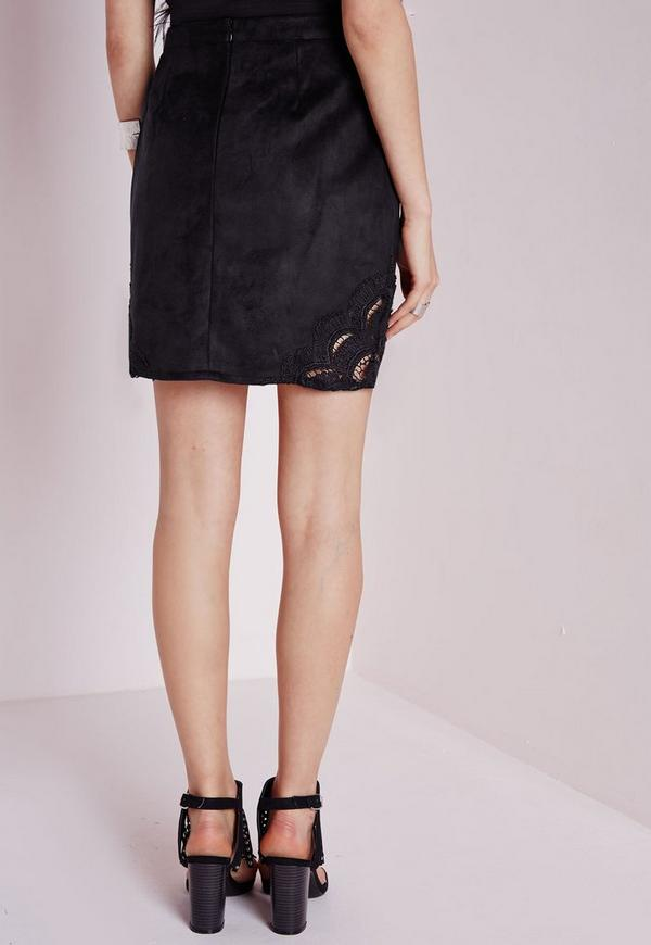 Lace Hem Faux Suede A-Line Skirt Black | Missguided