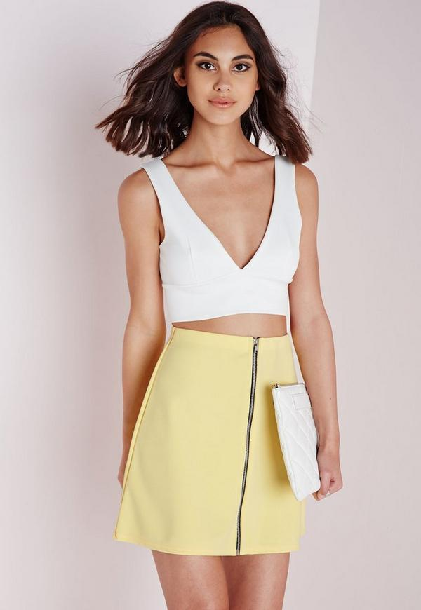 Zip Front A Line Mini Skirt Yellow