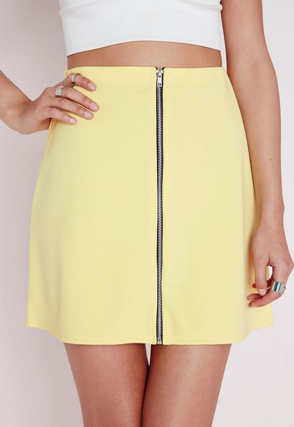 Zip Front A Line Mini Skirt Yellow - Skirts - Mini Skirts - Missguided
