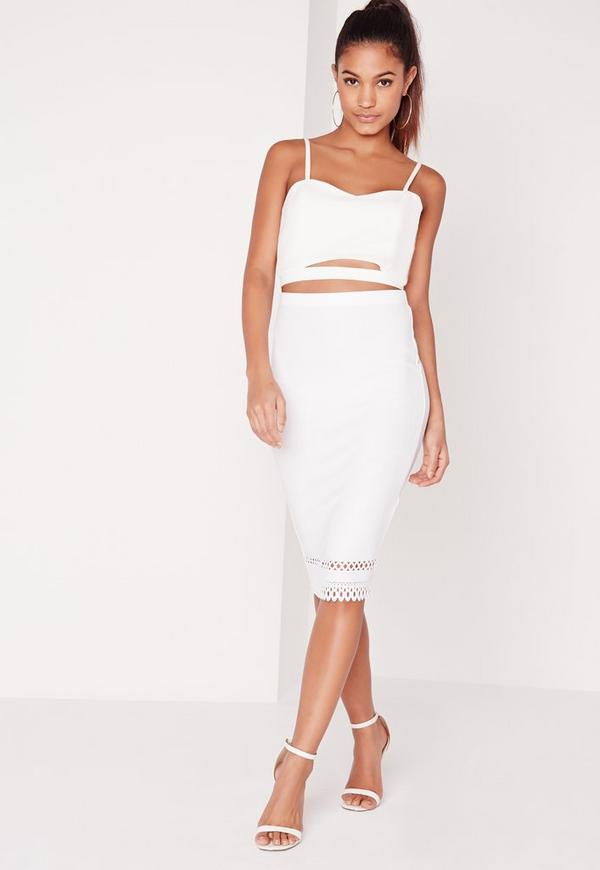 Laser Cut Hem Midi Skirt White