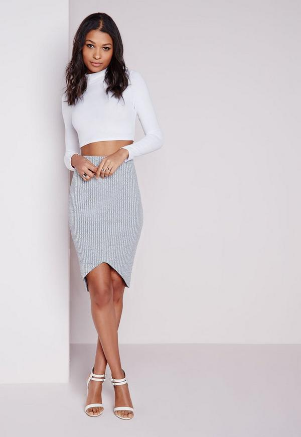 Ribbed Curve Hem Midi Skirt Grey