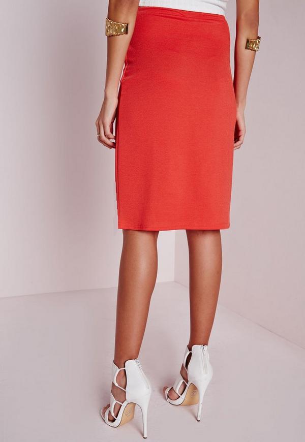 thigh split midi skirt orange missguided