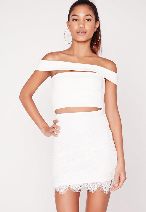 Lace Bodycon Mini Skirt White