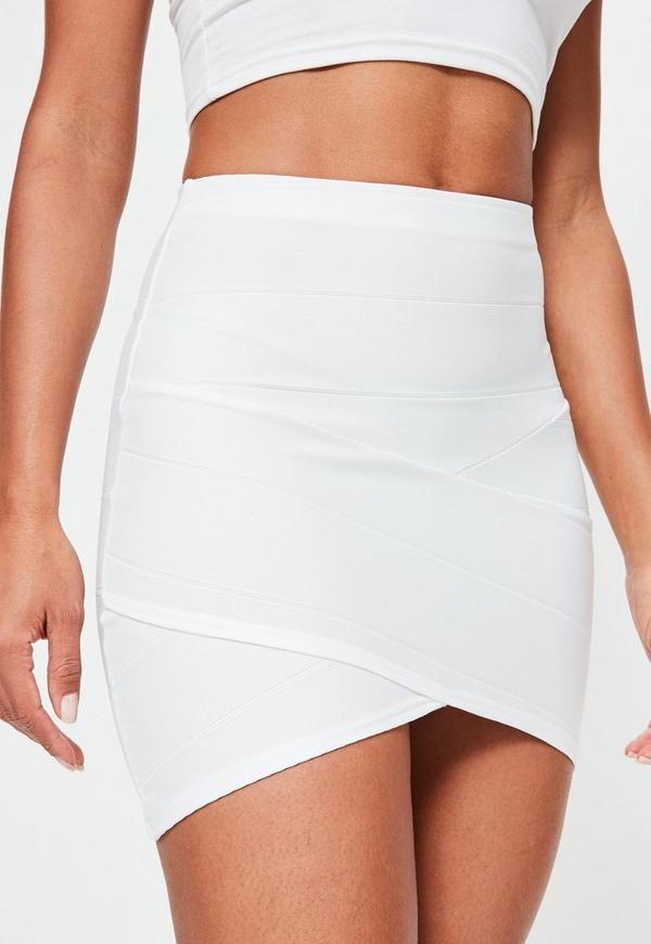 Bandage Asymmetric Hem Mini Skirt White - Missguided