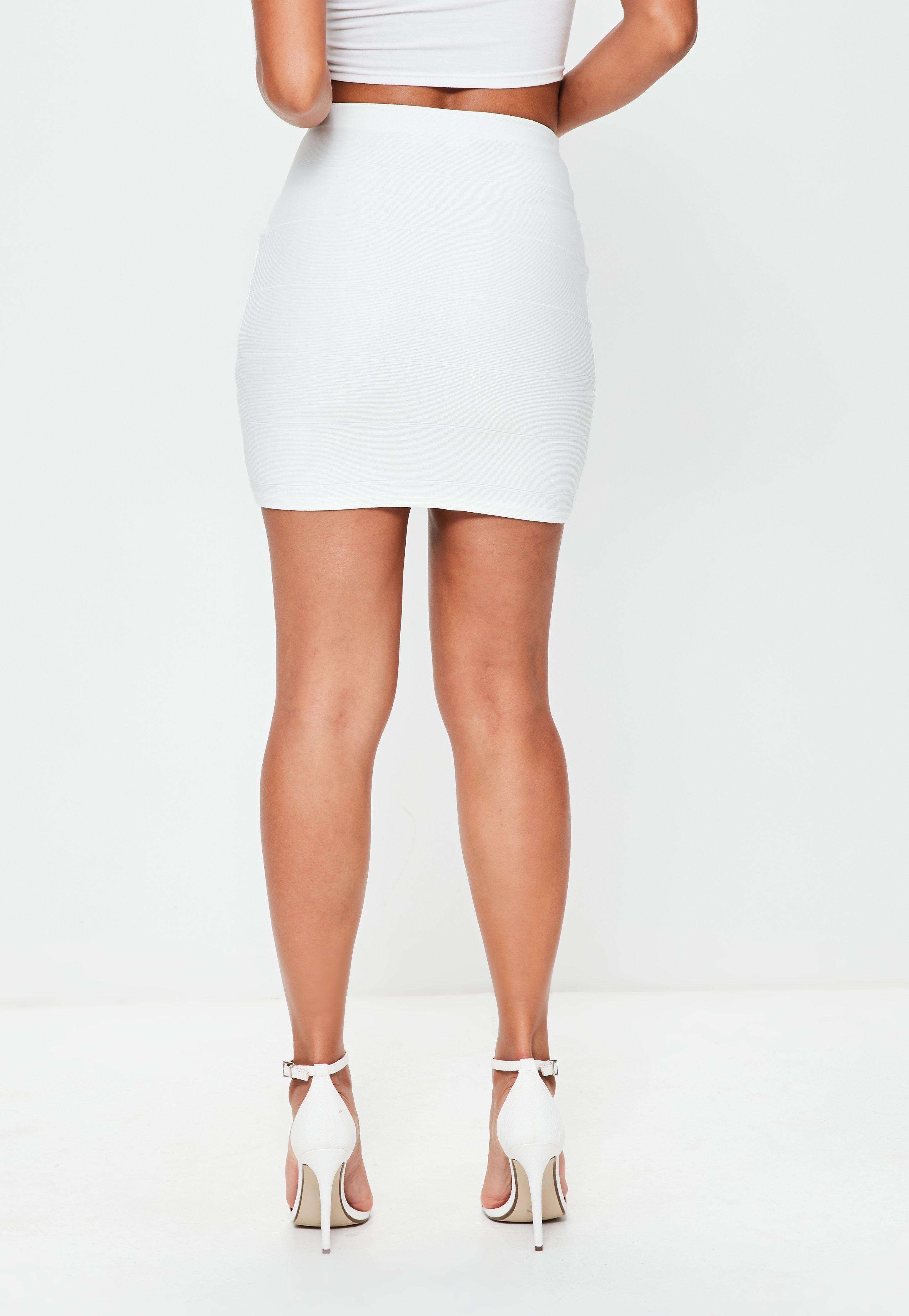 Bandage Asymmetric Hem Mini Skirt White