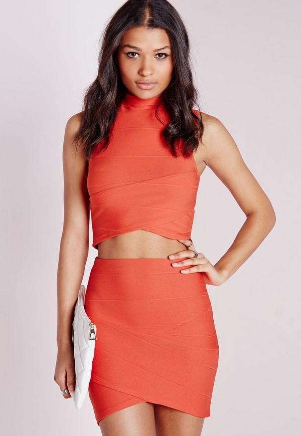 Bandage Asymmetric Hem Mini Skirt Burnt Orange