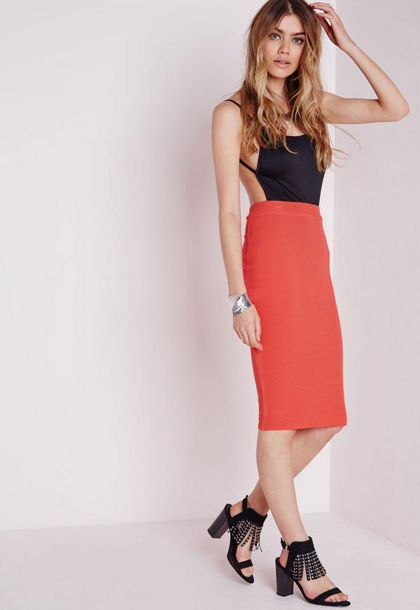Ribbed Bodycon Midi Skirt Orange