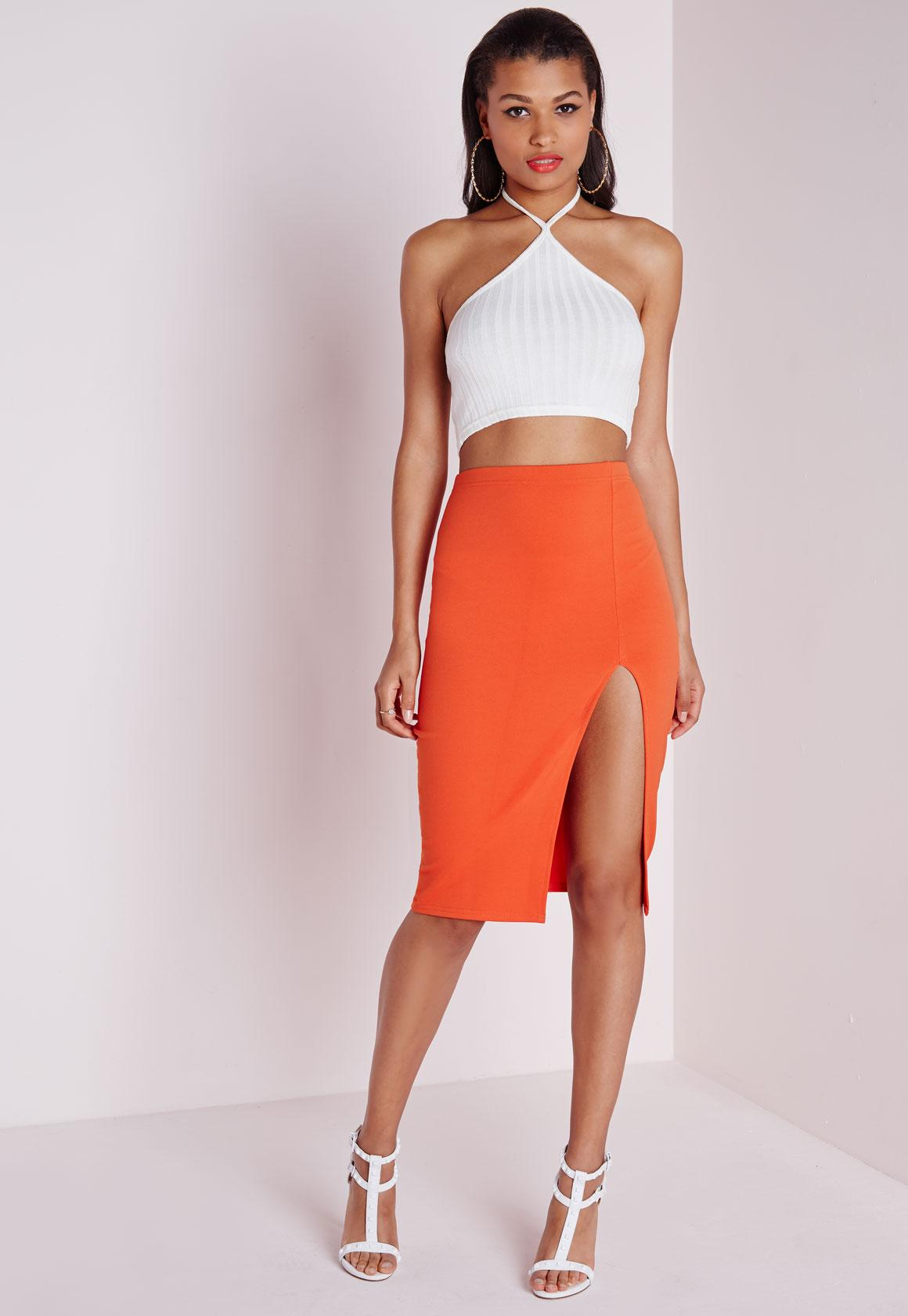 Thigh High Split Scuba Midi Skirt Orange | Missguided
