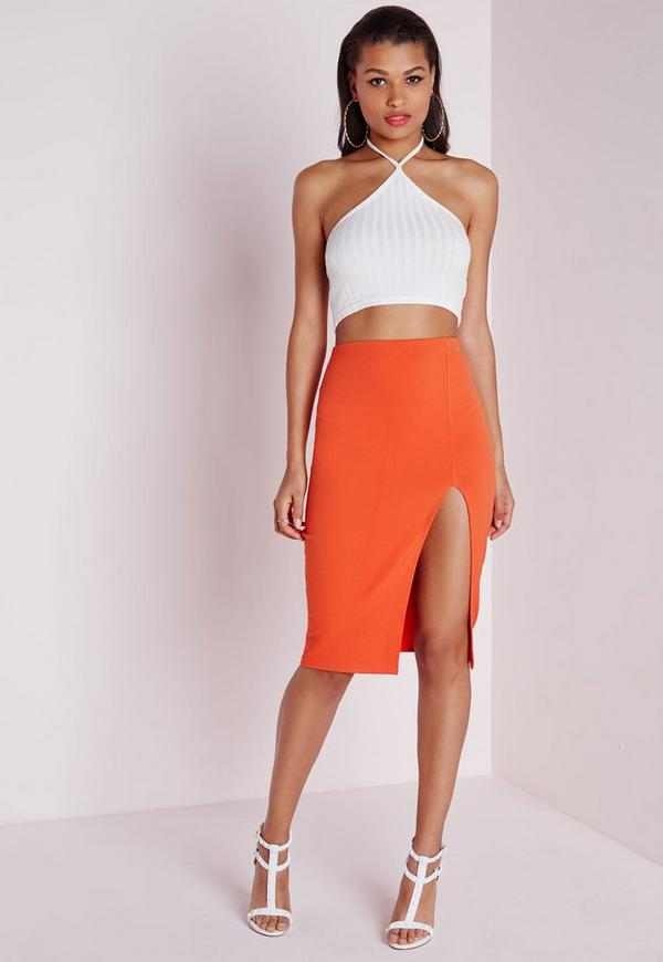 Thigh High Split Scuba Midi Skirt Orange