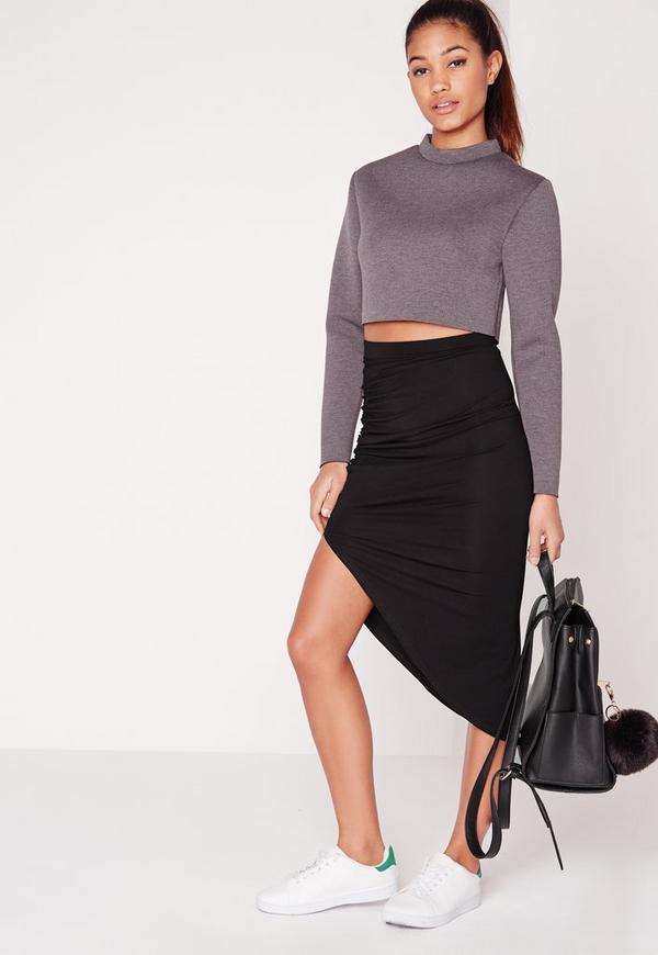 Ruched Side Asymmetric Midi Skirt Black