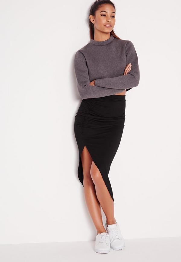 Ruched Side Asymmetric Midi Skirt Black - Asymmetric - Skirts ...
