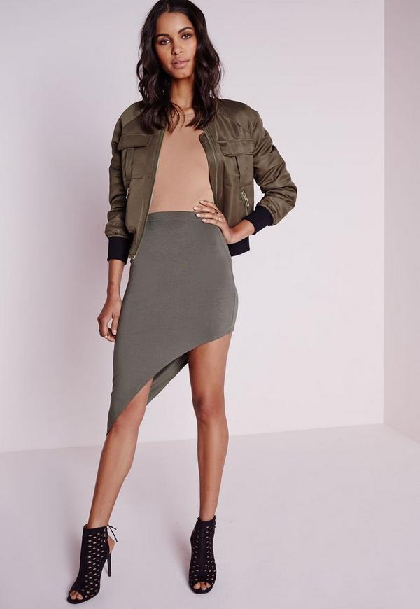 Extreme Asymmetric Midi Skirt Khaki