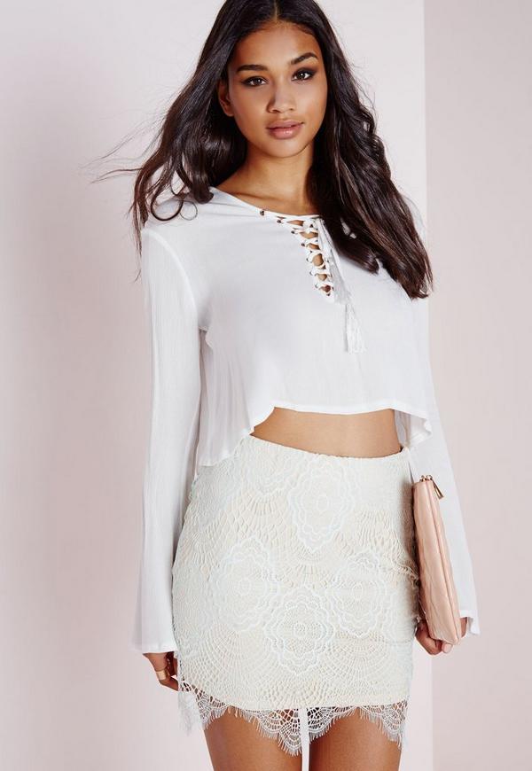 Lace Mini Skirt Mint