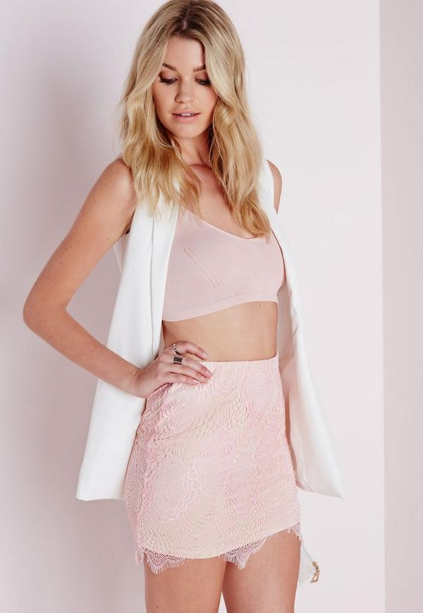 Lace Mini Skirt Light Pink