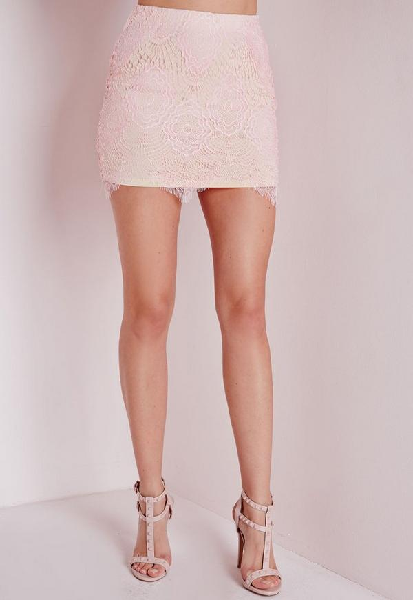 Lace Mini Skirt Light Pink - Lace - Pink - Skirts - Missguided
