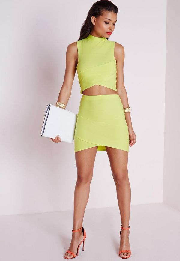 Bandage Asymmetric Hem Mini Skirt Lime Green