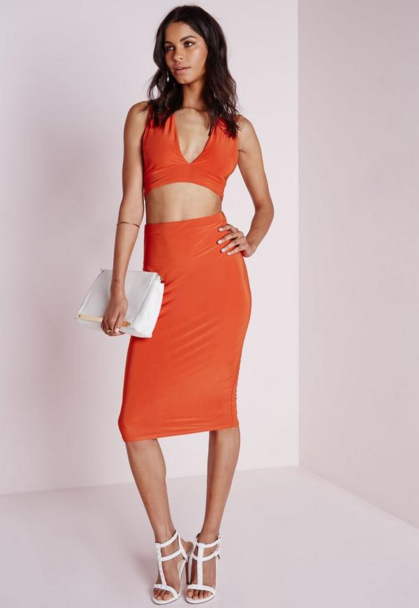 Ruched Back Slinky Midi Skirt Orange
