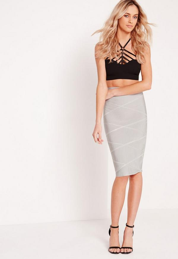 Cross Detail Bandage Midi Skirt Grey
