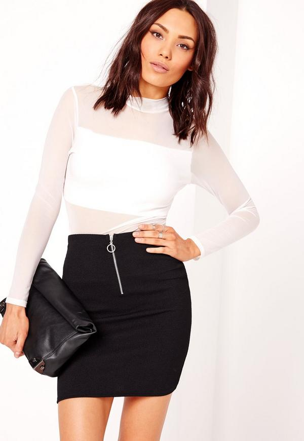 Zip Front Ribbed Mini Skirt Black