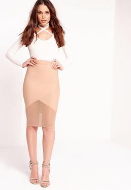 Bandage Mesh Hem Midi Skirt Nude