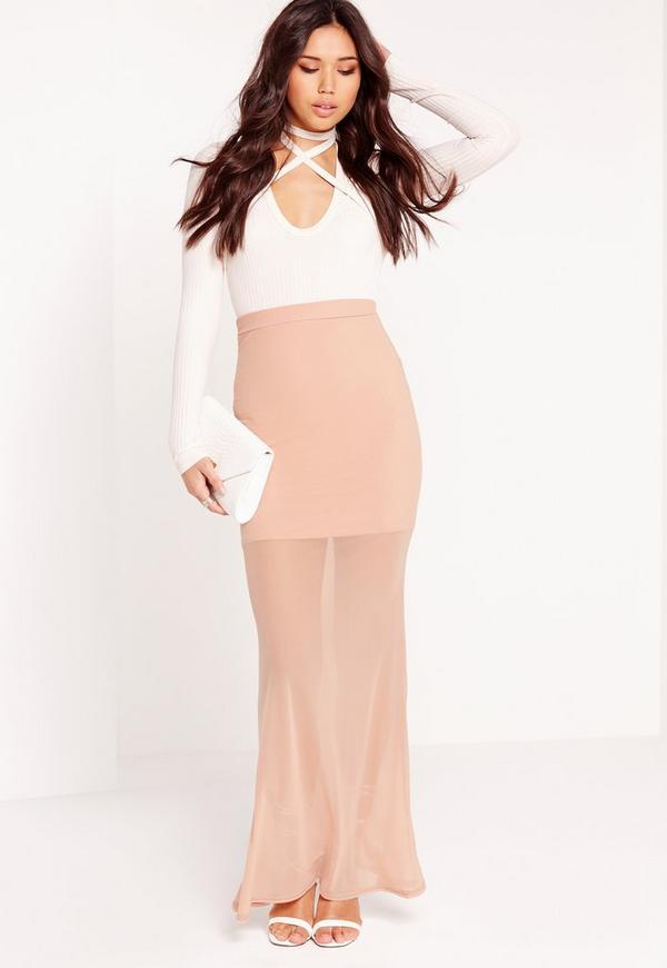 Mesh Maxi Skirt Nude