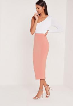 Carli Bybel Longline Jersey Double Layer Midi Skirt Pink
