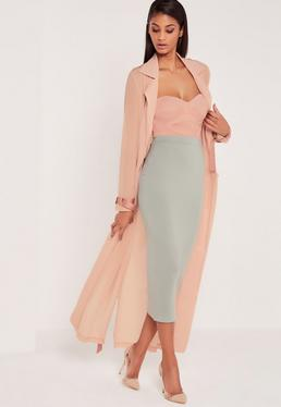 Carli Bybel Longline Jersey Double Layer Midi Skirt Green
